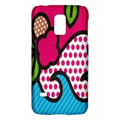 Rose Floral Circle Line Polka Dot Leaf Pink Blue Green Galaxy S5 Mini by Mariart