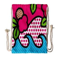 Rose Floral Circle Line Polka Dot Leaf Pink Blue Green Drawstring Bag (large) by Mariart