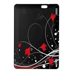 Star Red Flower Floral Black Leaf Polka Circle Kindle Fire Hdx 8 9  Hardshell Case by Mariart