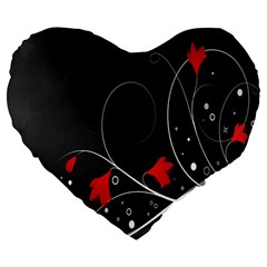 Star Red Flower Floral Black Leaf Polka Circle Large 19  Premium Flano Heart Shape Cushions by Mariart