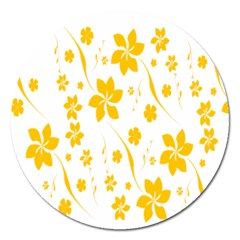 Shamrock Yellow Star Flower Floral Star Magnet 5  (round) by Mariart