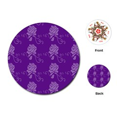Purple Flower Rose Sunflower Playing Cards (round)  by Mariart