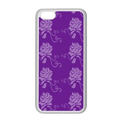 Purple Flower Rose Sunflower Apple Iphone 5c Seamless Case (white) by Mariart