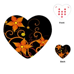 Star Leaf Orange Gold Red Black Flower Floral Playing Cards (heart)  by Mariart