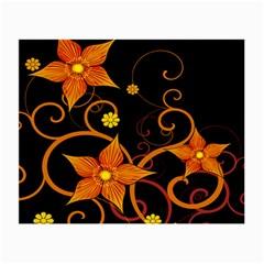 Star Leaf Orange Gold Red Black Flower Floral Small Glasses Cloth (2 Side) by Mariart