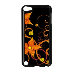 Star Leaf Orange Gold Red Black Flower Floral Apple Ipod Touch 5 Case (black) by Mariart