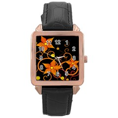 Star Leaf Orange Gold Red Black Flower Floral Rose Gold Leather Watch  by Mariart