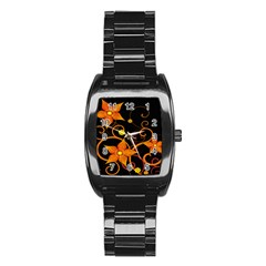 Star Leaf Orange Gold Red Black Flower Floral Stainless Steel Barrel Watch by Mariart