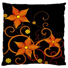 Star Leaf Orange Gold Red Black Flower Floral Standard Flano Cushion Case (two Sides) by Mariart