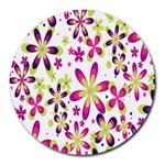 Star Flower Purple Pink Round Mousepads