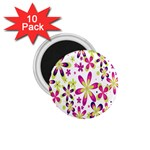 Star Flower Purple Pink 1.75  Magnets (10 pack)
