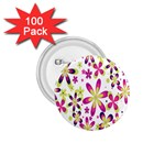 Star Flower Purple Pink 1.75  Buttons (100 pack)