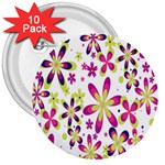 Star Flower Purple Pink 3  Buttons (10 pack)