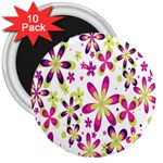 Star Flower Purple Pink 3  Magnets (10 pack)