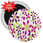Star Flower Purple Pink 3  Magnets (100 pack)