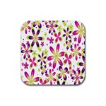Star Flower Purple Pink Rubber Square Coaster (4 pack)