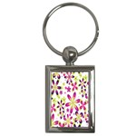 Star Flower Purple Pink Key Chains (Rectangle)