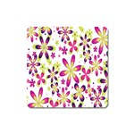 Star Flower Purple Pink Square Magnet