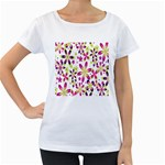 Star Flower Purple Pink Women s Loose-Fit T-Shirt (White)
