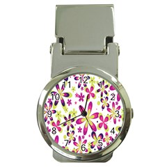 Star Flower Purple Pink Money Clip Watches by Mariart