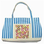 Star Flower Purple Pink Striped Blue Tote Bag
