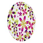 Star Flower Purple Pink Oval Ornament (Two Sides)