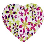 Star Flower Purple Pink Heart Ornament (Two Sides)