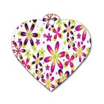 Star Flower Purple Pink Dog Tag Heart (One Side)