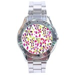 Star Flower Purple Pink Stainless Steel Analogue Watch