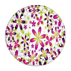 Star Flower Purple Pink Ornament (round Filigree) by Mariart