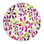 Star Flower Purple Pink Round Filigree Ornament (Two Sides)
