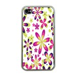 Star Flower Purple Pink Apple iPhone 4 Case (Clear)
