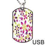 Star Flower Purple Pink Dog Tag USB Flash (Two Sides)