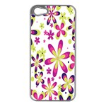Star Flower Purple Pink Apple iPhone 5 Case (Silver)