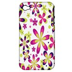 Star Flower Purple Pink Apple iPhone 4/4S Hardshell Case (PC+Silicone)