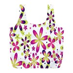 Star Flower Purple Pink Full Print Recycle Bags (L)