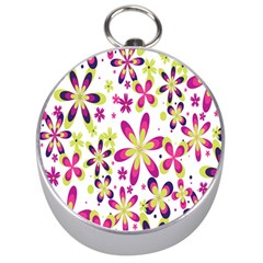 Star Flower Purple Pink Silver Compasses by Mariart