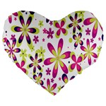 Star Flower Purple Pink Large 19  Premium Flano Heart Shape Cushions