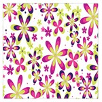 Star Flower Purple Pink Large Satin Scarf (Square)