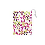 Star Flower Purple Pink Drawstring Pouches (XS)
