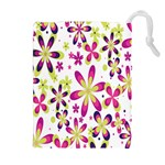 Star Flower Purple Pink Drawstring Pouches (Extra Large)