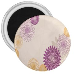Star Sunflower Floral Grey Purple Orange 3  Magnets by Mariart