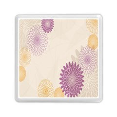 Star Sunflower Floral Grey Purple Orange Memory Card Reader (square)  by Mariart
