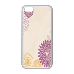 Star Sunflower Floral Grey Purple Orange Apple Iphone 5c Seamless Case (white) by Mariart