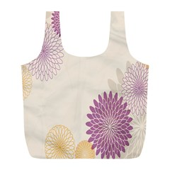 Star Sunflower Floral Grey Purple Orange Full Print Recycle Bags (l)  by Mariart