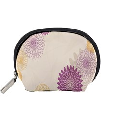 Star Sunflower Floral Grey Purple Orange Accessory Pouches (small)  by Mariart