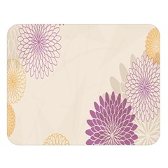 Star Sunflower Floral Grey Purple Orange Double Sided Flano Blanket (large)  by Mariart