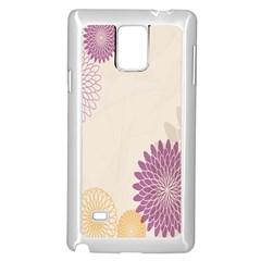 Star Sunflower Floral Grey Purple Orange Samsung Galaxy Note 4 Case (white) by Mariart