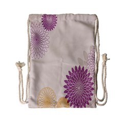 Star Sunflower Floral Grey Purple Orange Drawstring Bag (small) by Mariart