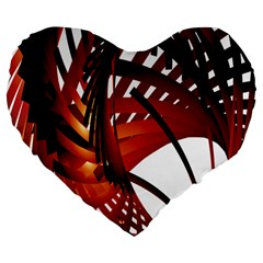 Webbing Red Large 19  Premium Heart Shape Cushions by Mariart